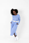 The Marina Striped Casual Dress in Periwinkle, studio shoot; front view