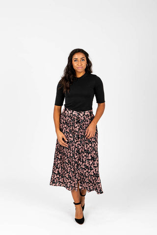 The Rylan Dot Silk Skirt in Blue
