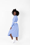 The Marina Striped Casual Dress in Periwinkle, studio shoot; side view