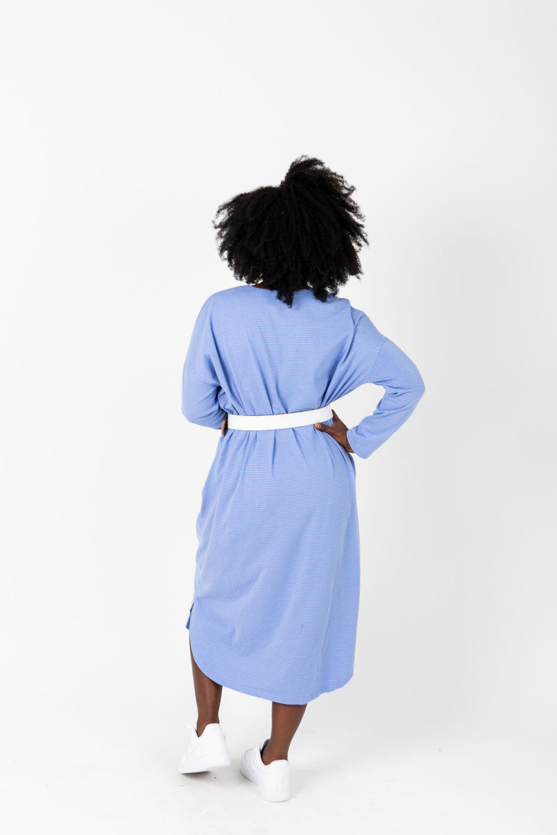 The Marina Striped Casual Dress in Periwinkle, studio shoot; back view