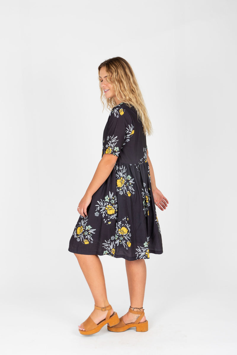 Piper & Scoot: The Swenson Floral Dress, studio shoot; side view