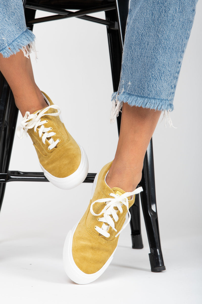 Keds: Anchor Corduroy in Chartreuse