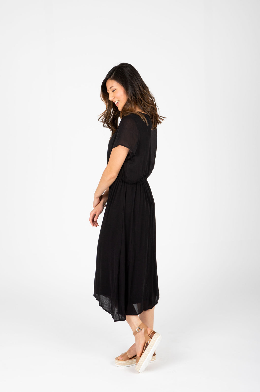 ,The Derby Dress in Black, studio shoot; side view