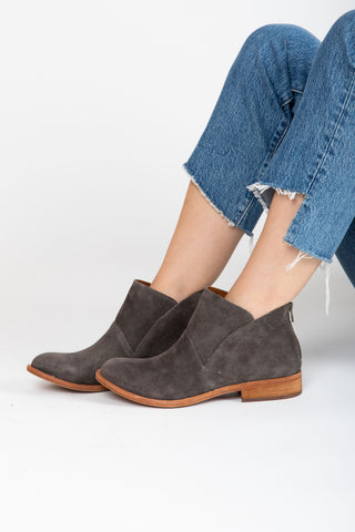 Silent D: The Cecilia Cutout Bootie in Dark Tan Cut Leather