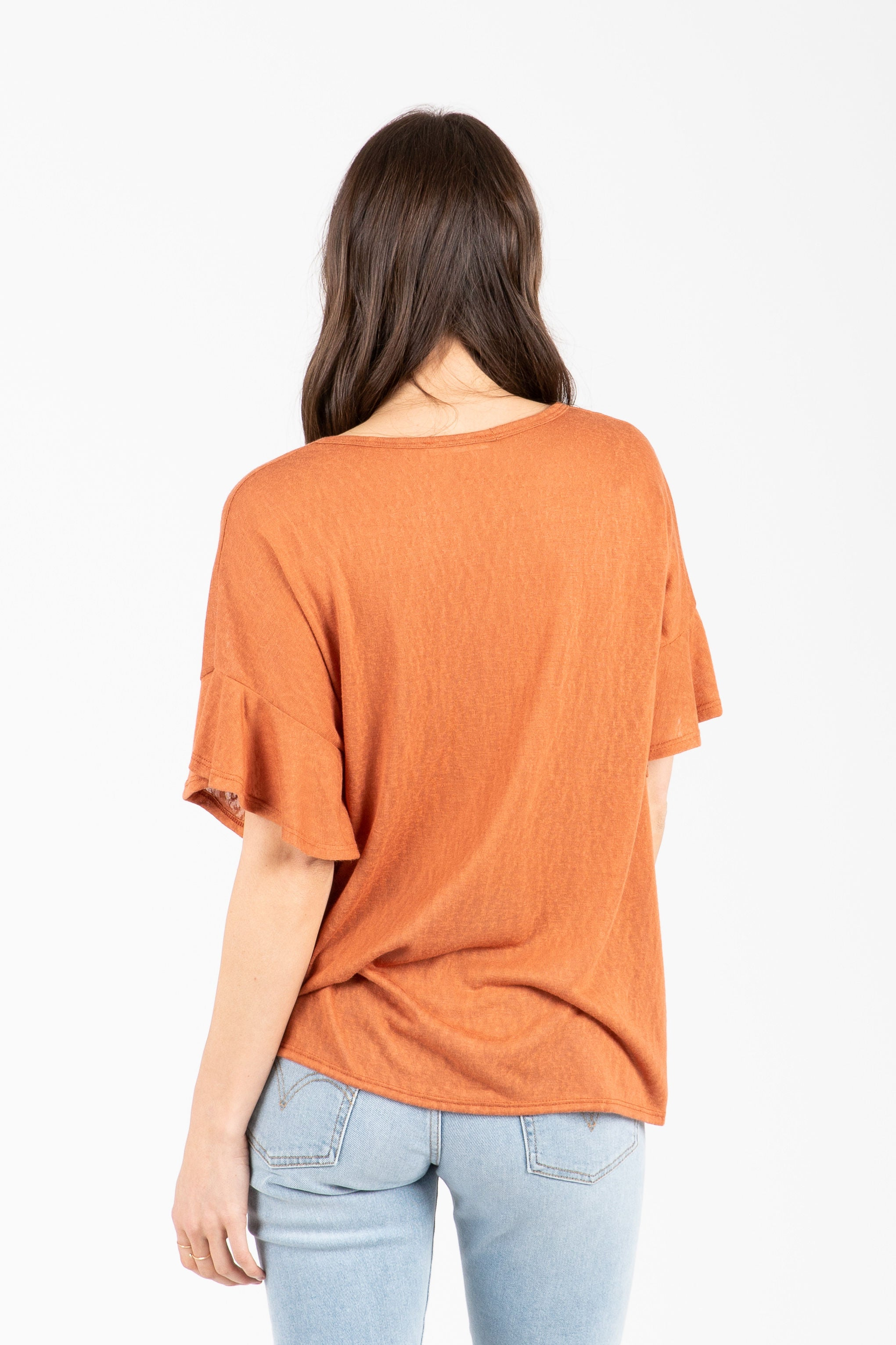 The Scene Flutter Tie Front Blouse in Brick