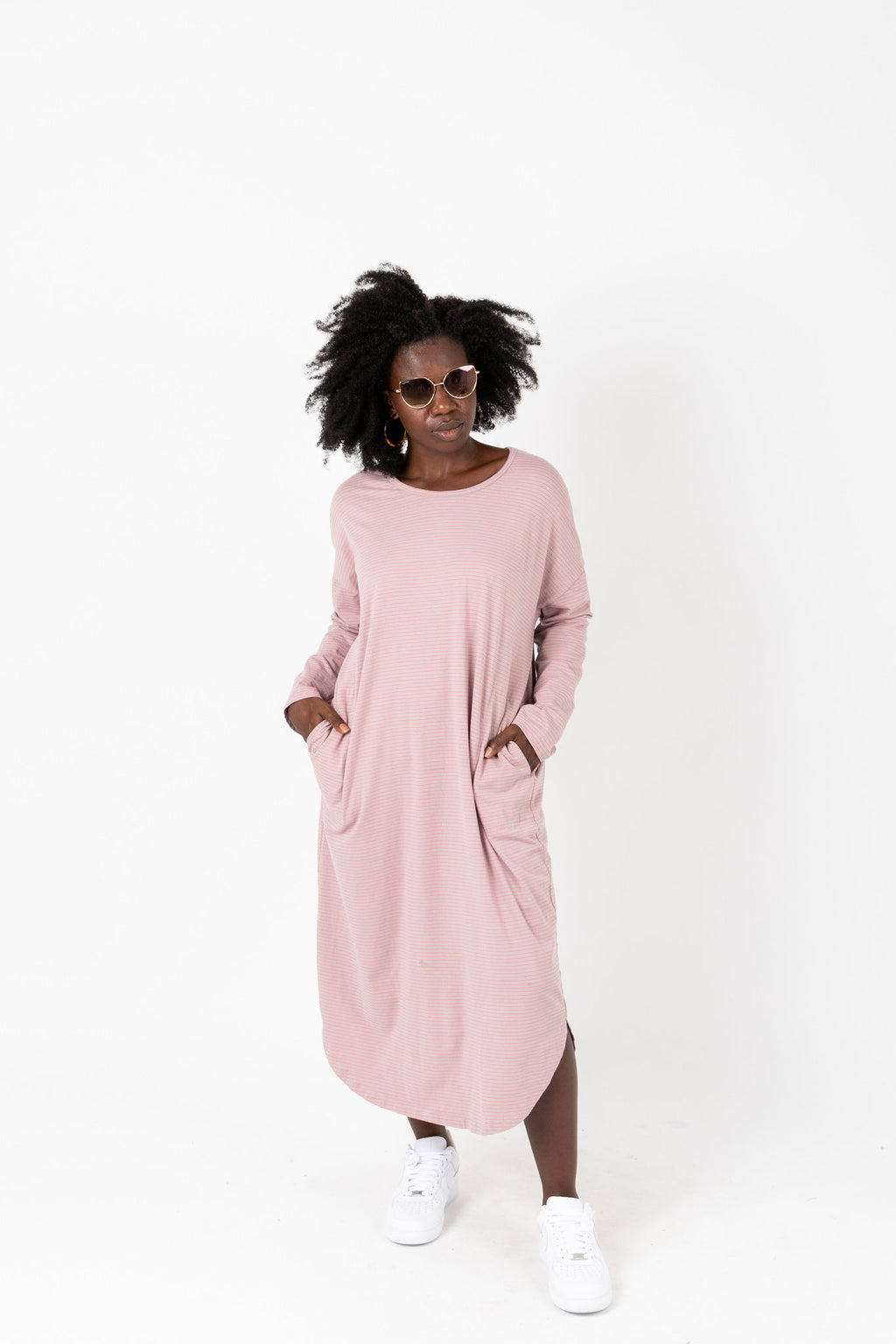The Marina Striped Casual Dress in Rose, studio shoot; front view