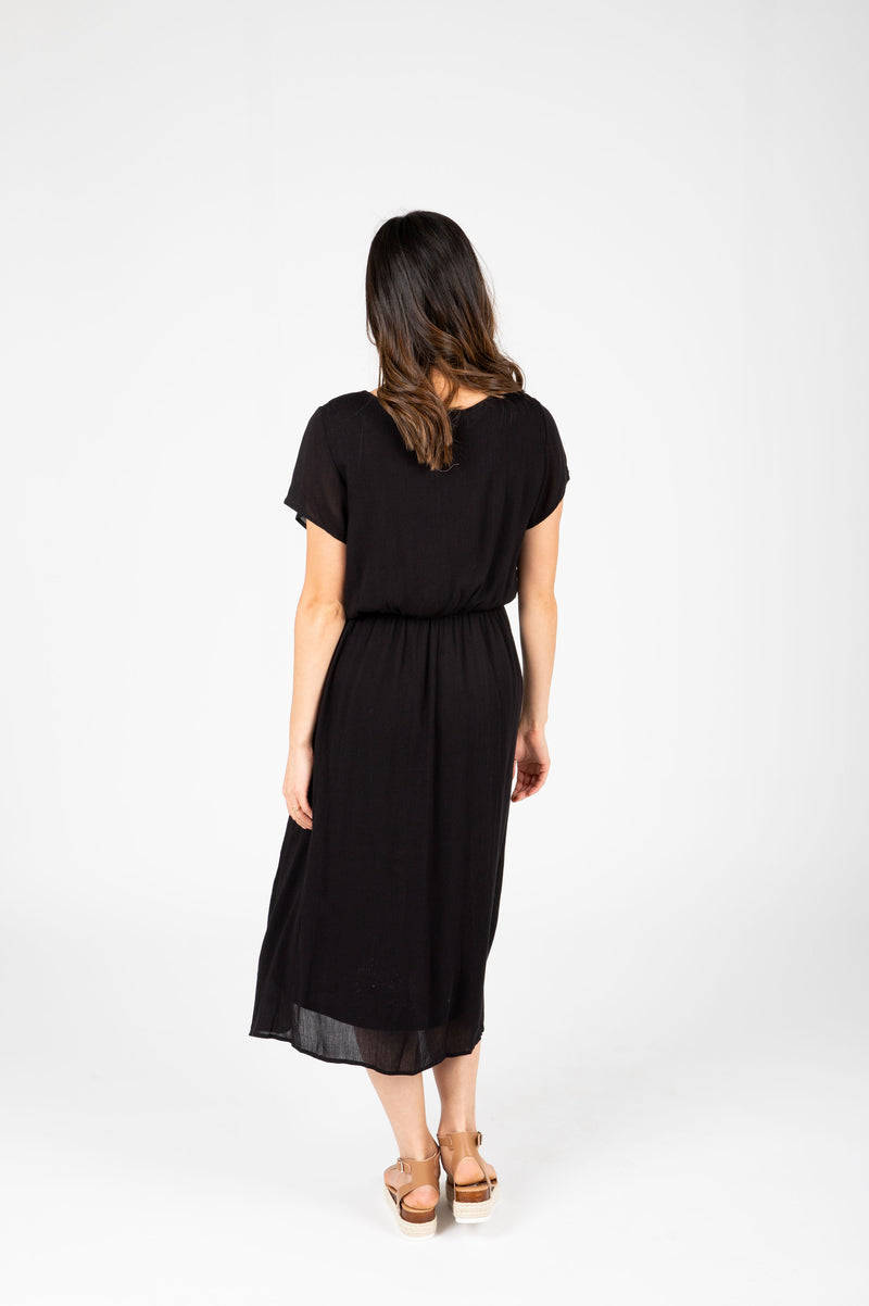 ,The Derby Dress in Black, studio shoot; back view