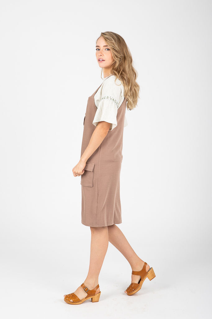 The Villas Button Jumper Dress in Taupe