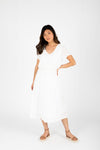 The Derby Dress in White, studio shoot; front view
