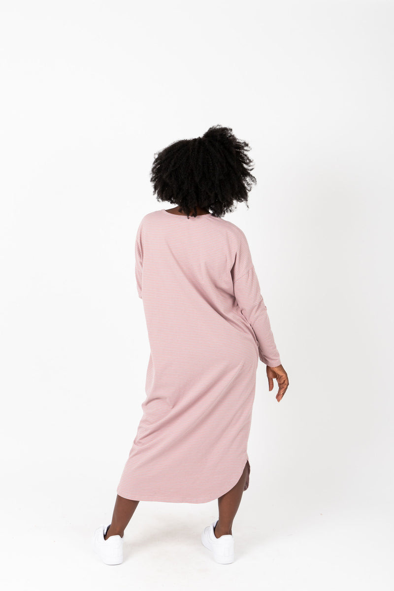 The Marina Striped Casual Dress in Rose, studio shoot; back view
