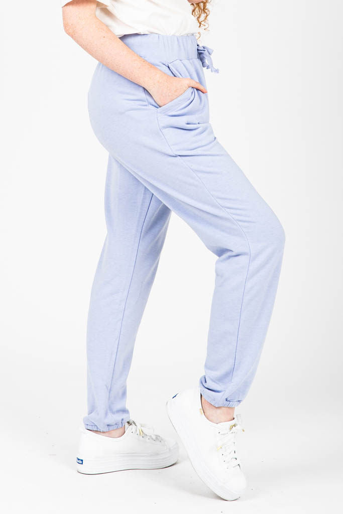 The Jerry Cozy Fleece Jogger in Sky, studio shoot; side view