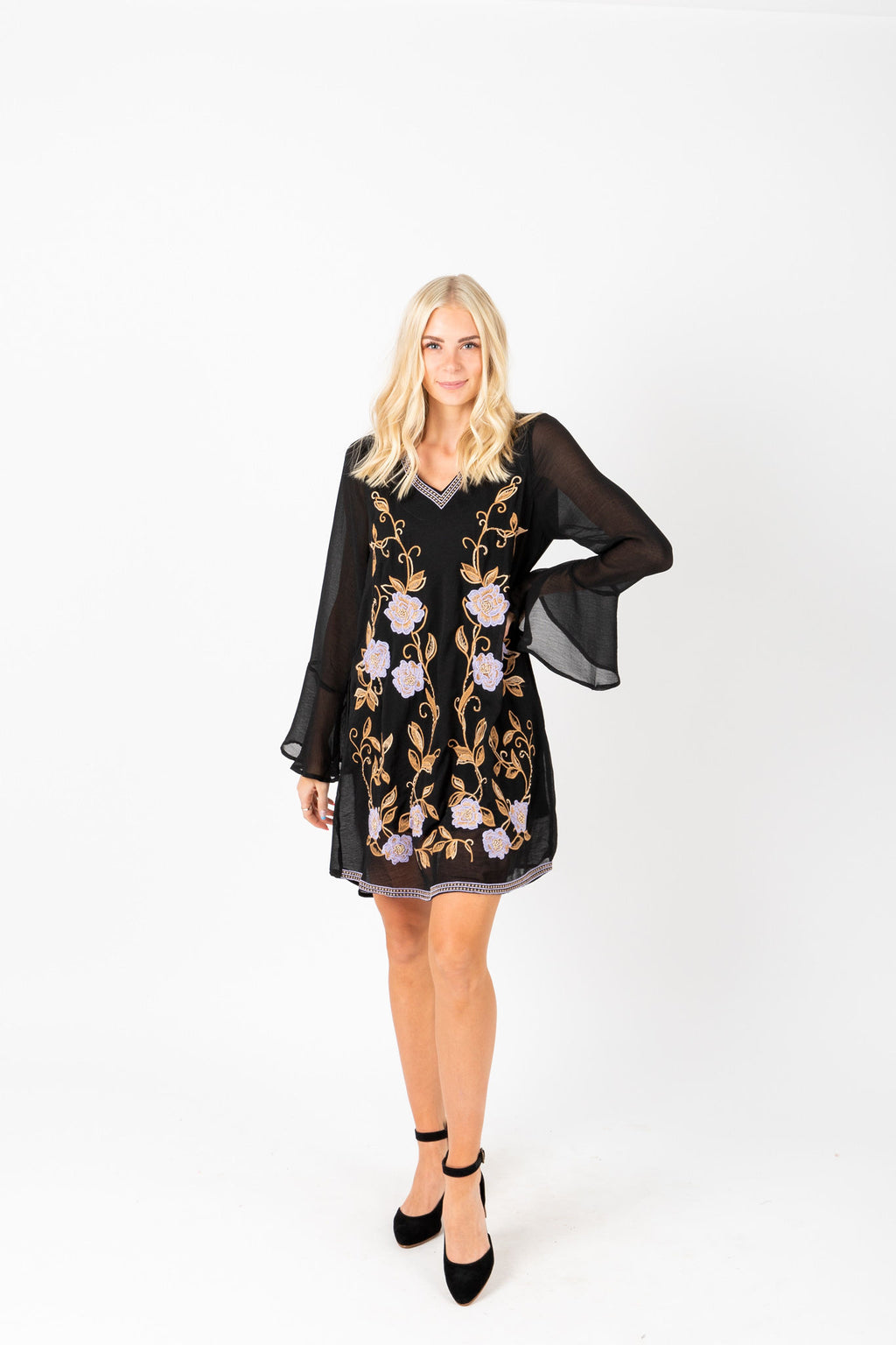 The West Embroidered Mini Dress in Black, studio shoot; front view