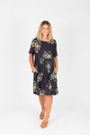 Piper & Scoot: The Swenson Floral Dress, studio shoot; front view