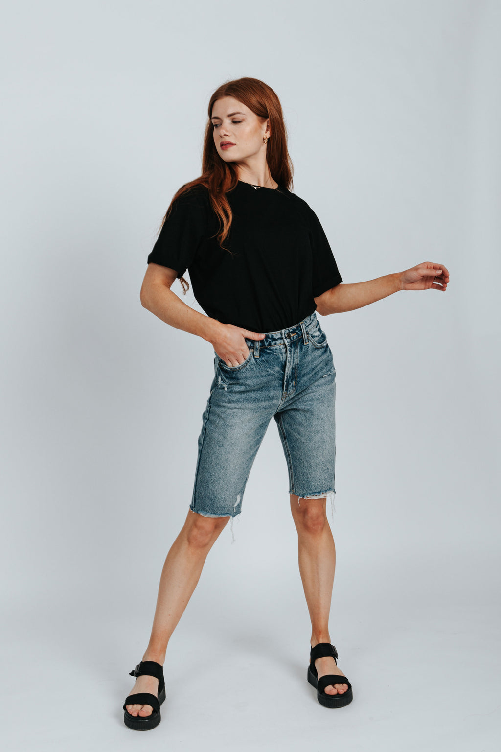 The Danny Mom Denim Short in Vintage Wash, studio shoot; front view