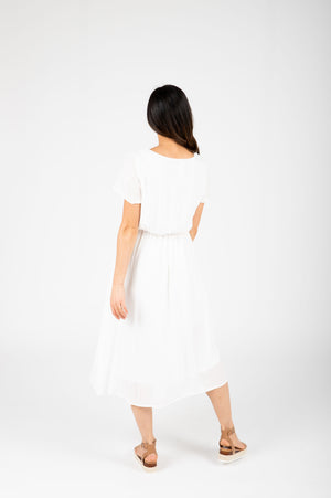 The Derby Dress in White, studio shoot; back view