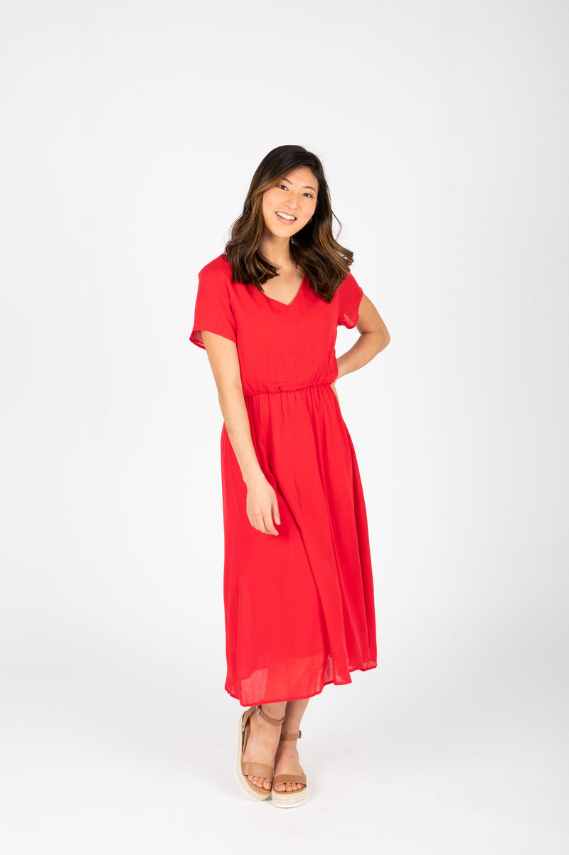 The Derby Dress in Red, studio shoot; front view