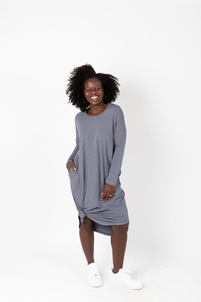 The Marina Striped Casual Dress in Navy