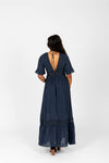 The Evanna Crochet Detail Maxi Dress in Navy, studio shoot; back view