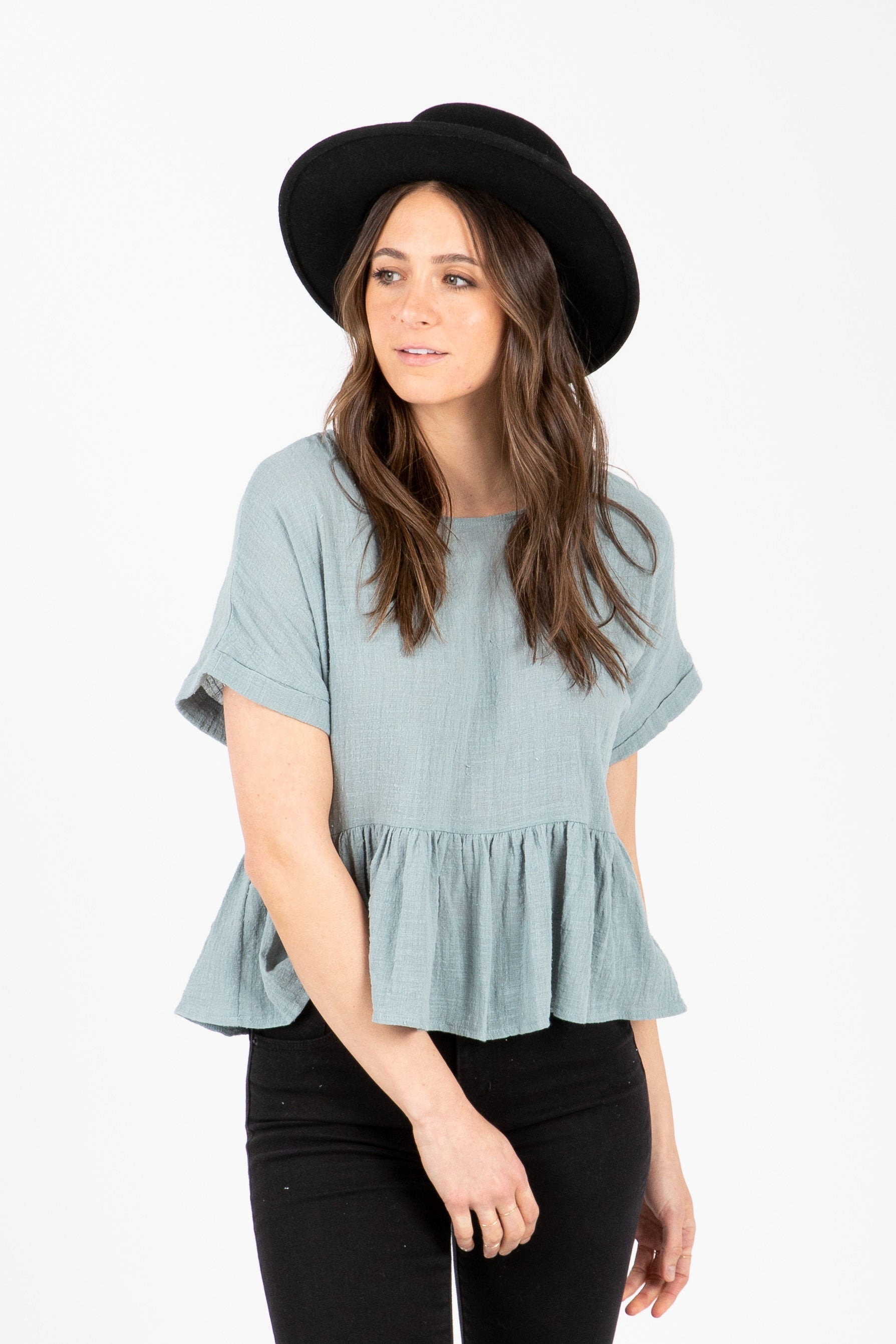 The Shale Peplum Blouse in Sky
