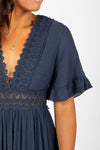 The Evanna Crochet Detail Maxi Dress in Navy, studio shoot; front view