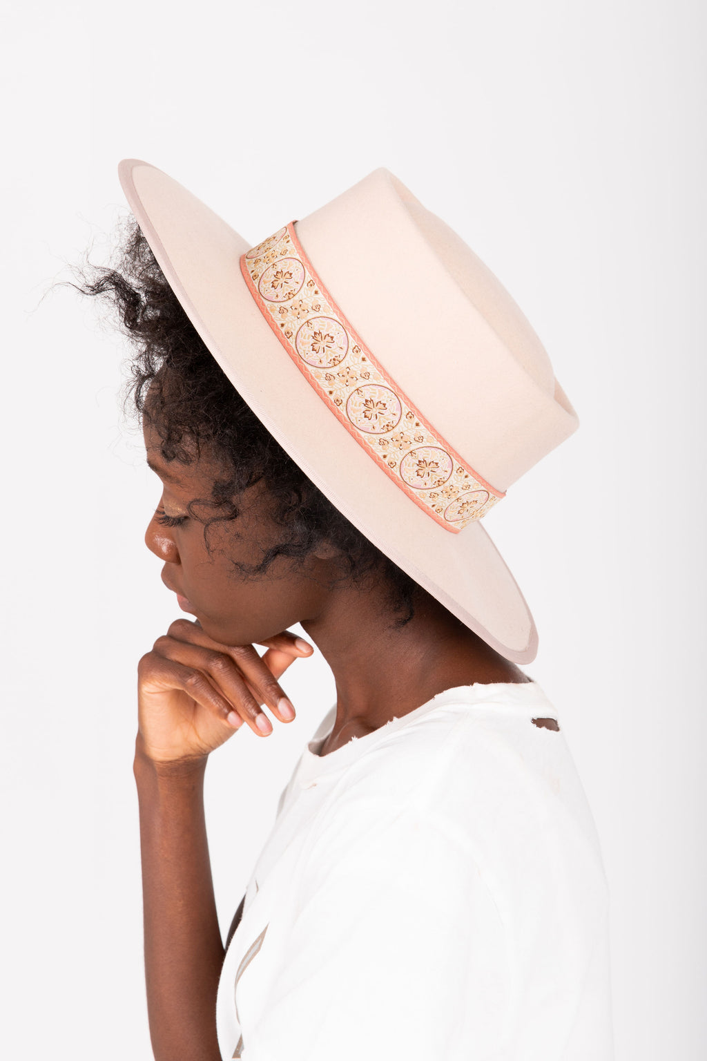 Hat No. 39: Wool Felt Vintage Floral Band in Blush