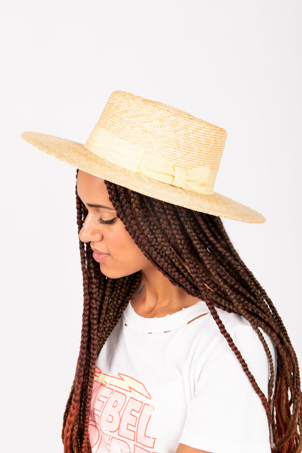 Hat No. 38: Straw Grossgrain Boater in Natural