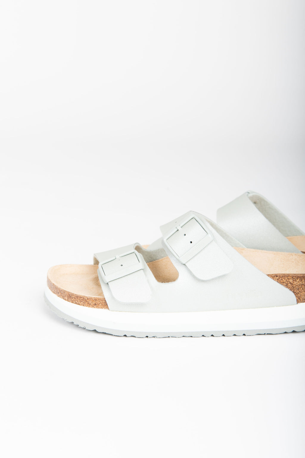 Birkenstock: Arizona Platform Birko-Flor in Icy Metallic Mineral (Narrow Fit)