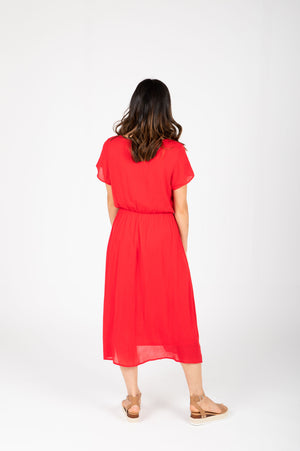 The Derby Dress in Red, studio shoot; back view