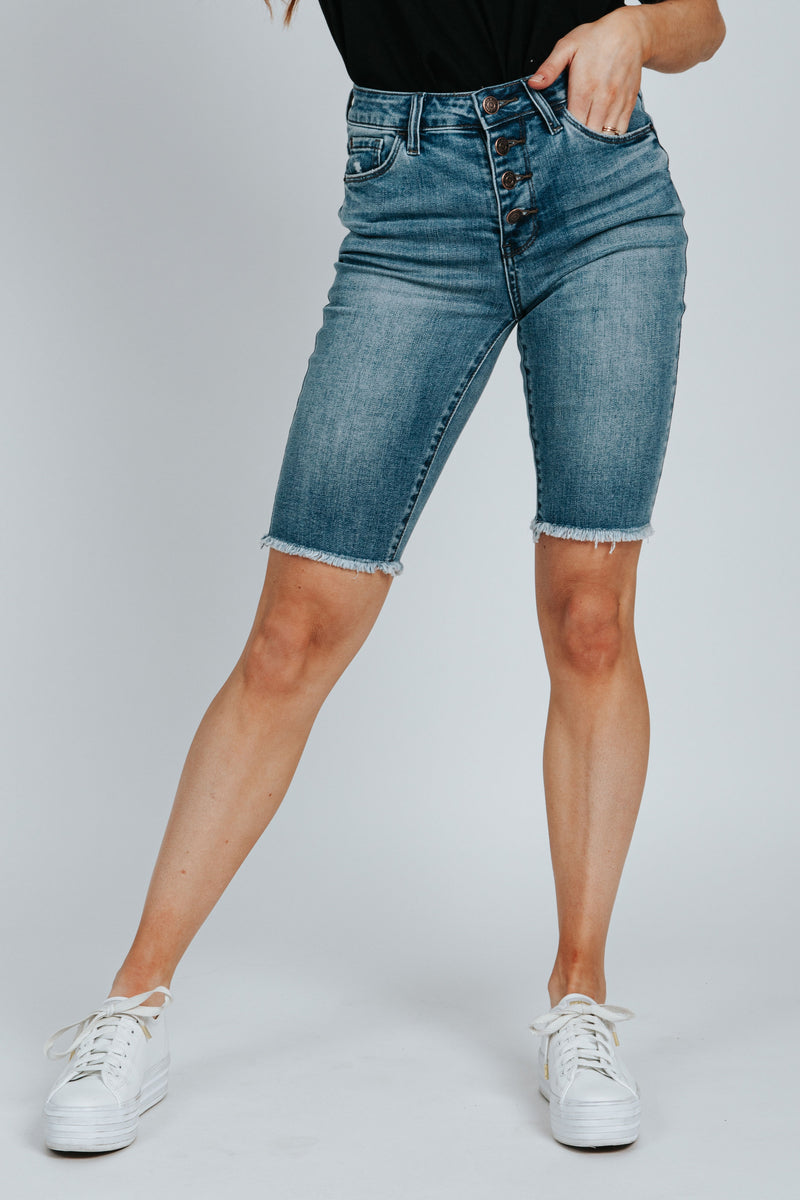 , The Wade Button Up Bermuda Short in Medium Wash, studio shoot; front view