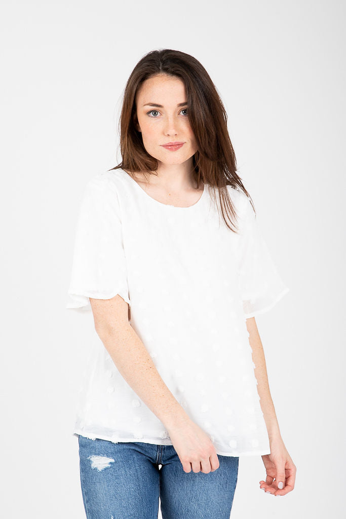 The Ashland Swiss Dot Blouse in White