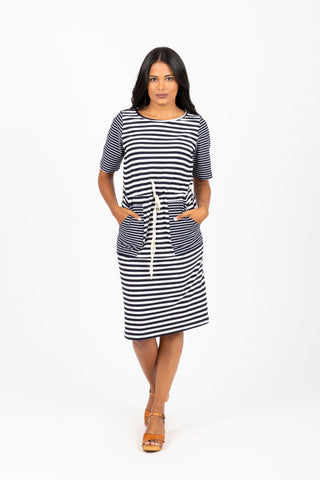 The Amelia Flutter Sleeve Wrap Dress in Slate