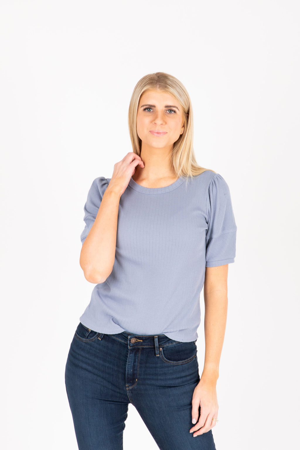 The Brenda Ribbed Tee in Powder Blue, studio shoot; front view