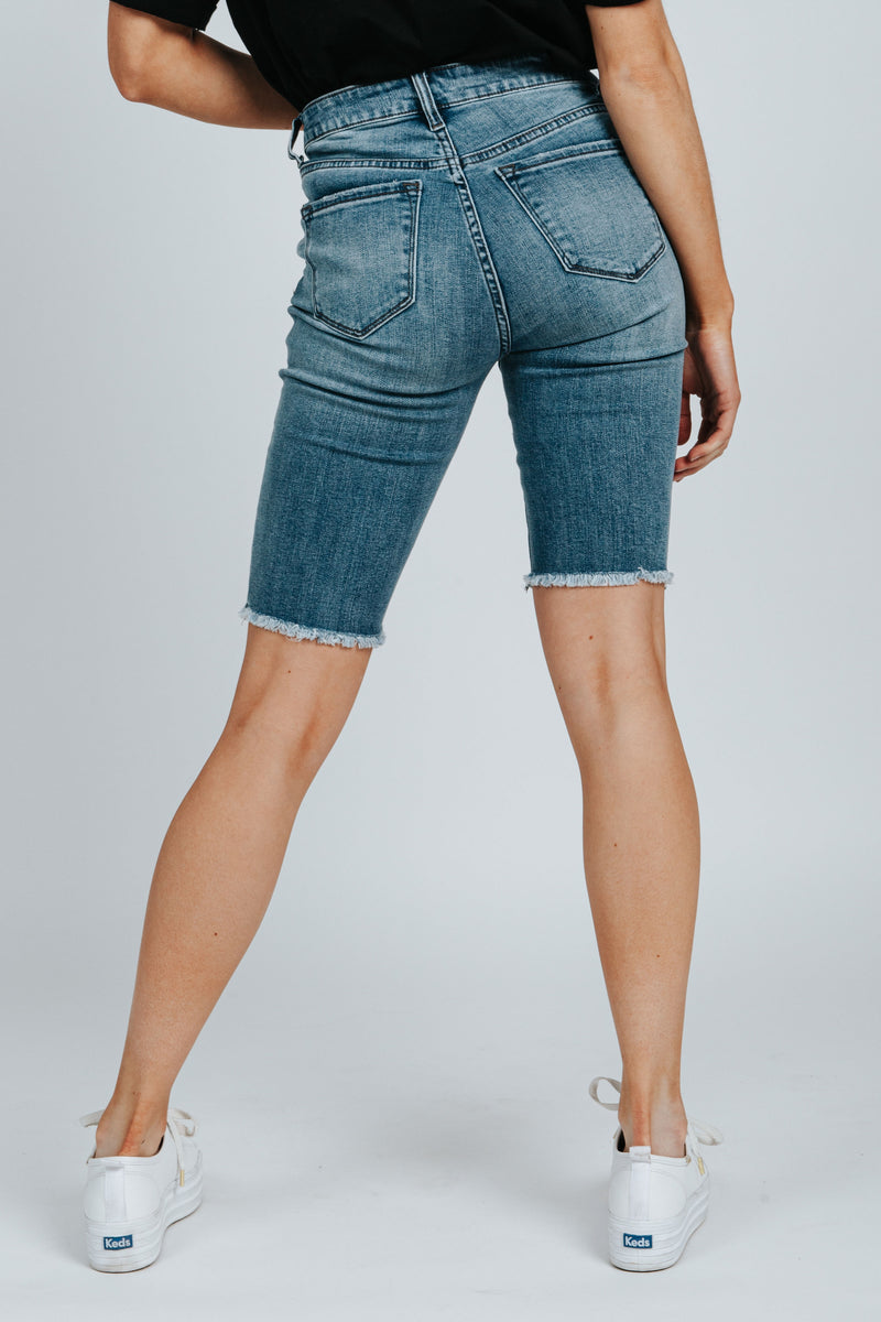 , The Wade Button Up Bermuda Short in Medium Wash, studio shoot; back view