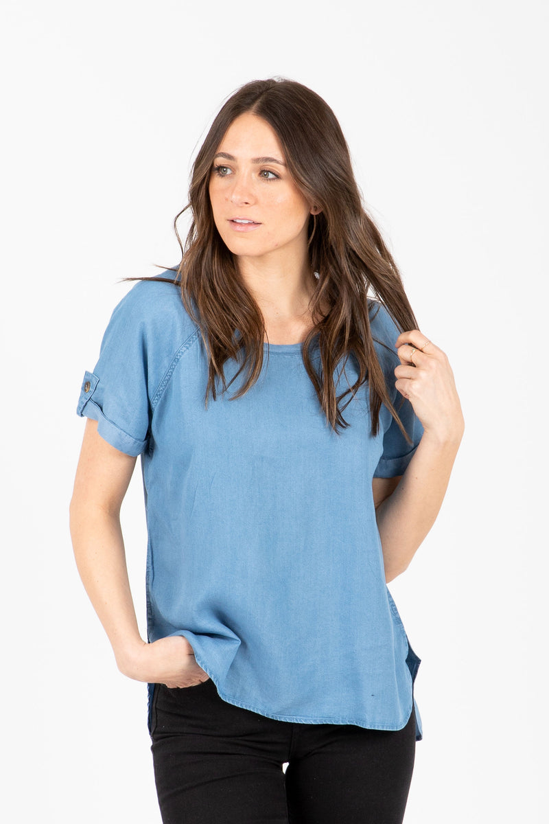 eee8e6f02cdb3 The Dawn Denim Blouse in Chambray