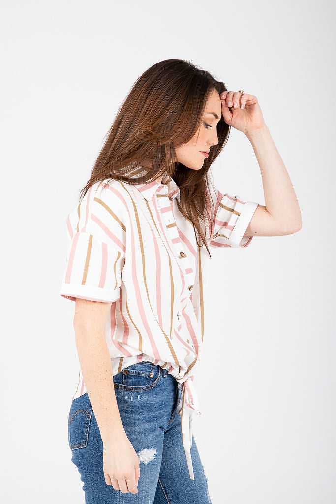 The Blair Striped Tie Front Blouse in White