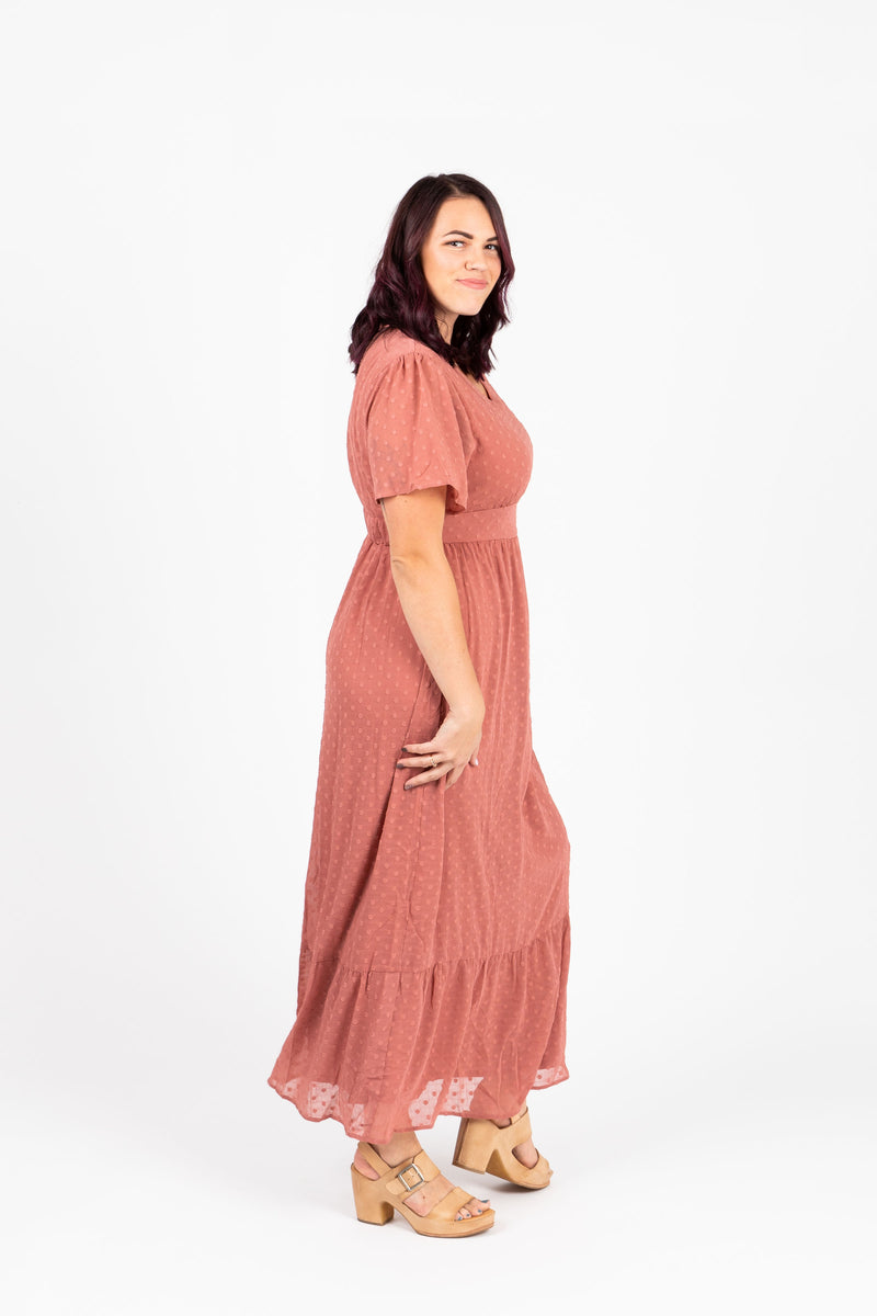 Piper & Scoot: The Portrait Mini Swiss Dot Maxi Dress in Mauve