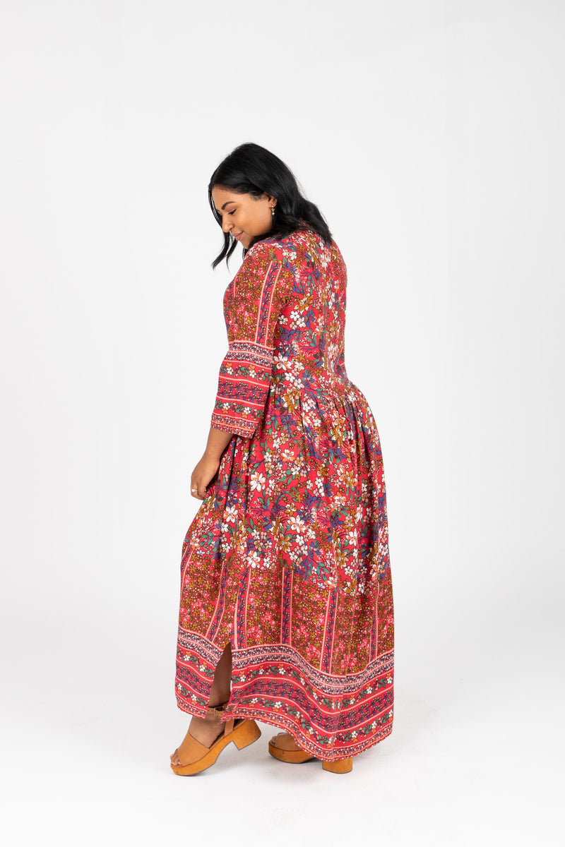 The Brockton Patterned Maxi Dress in Red