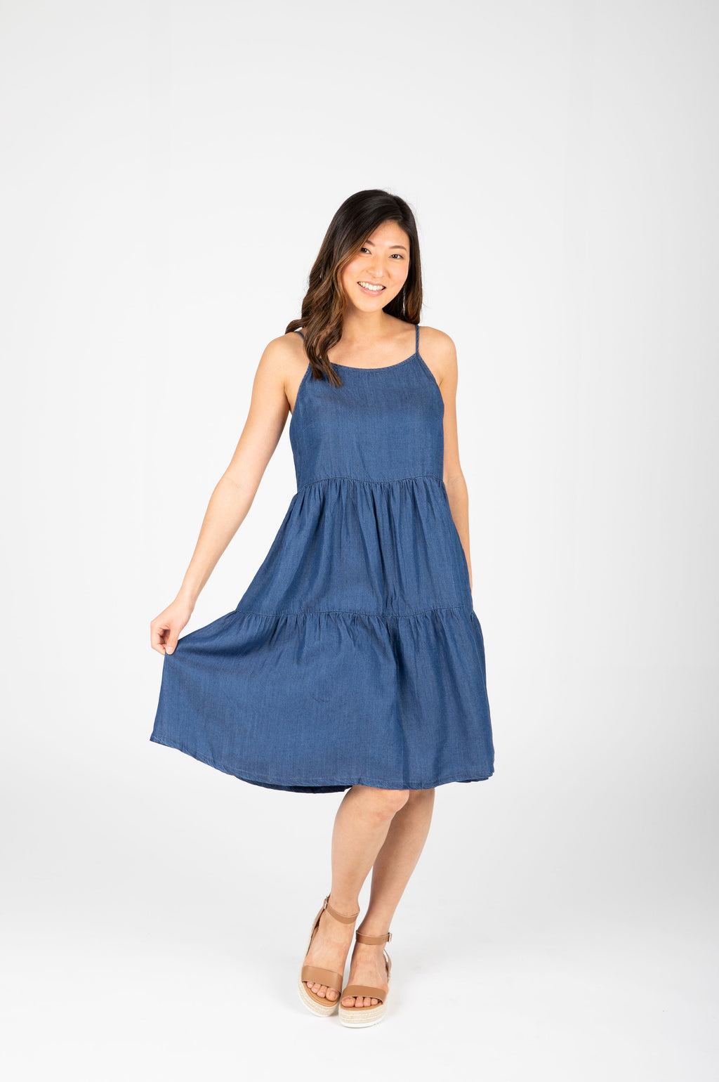 The Teagan Denim Tank Dress in Chambray