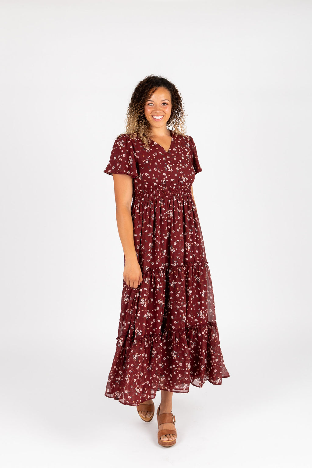 The Eden Floral Maxi Dress in Burgundy