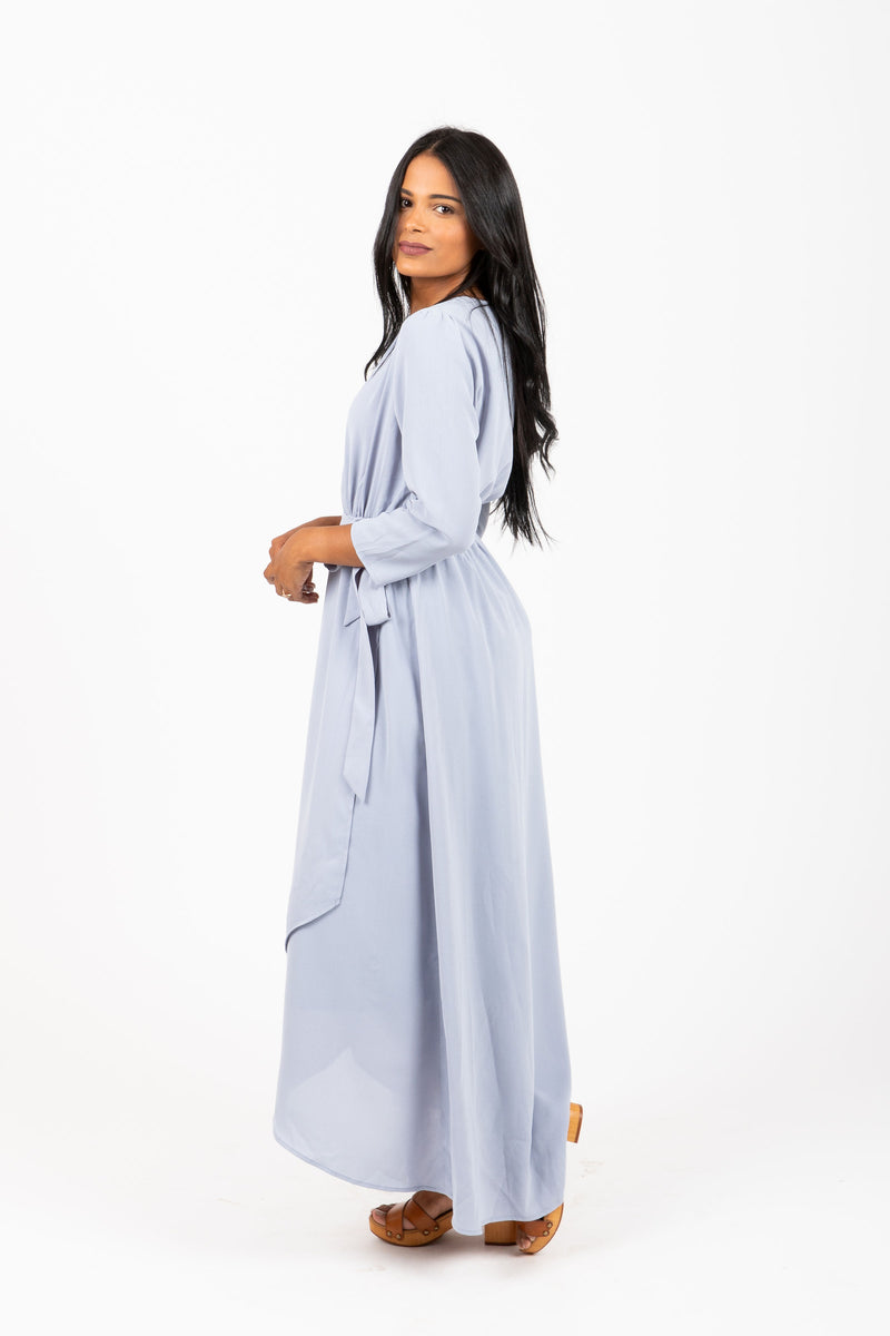 The Lumber Wrap Dress in Sky