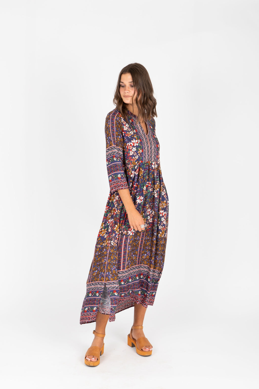 The Brockton Patterned Maxi Dress in Navy