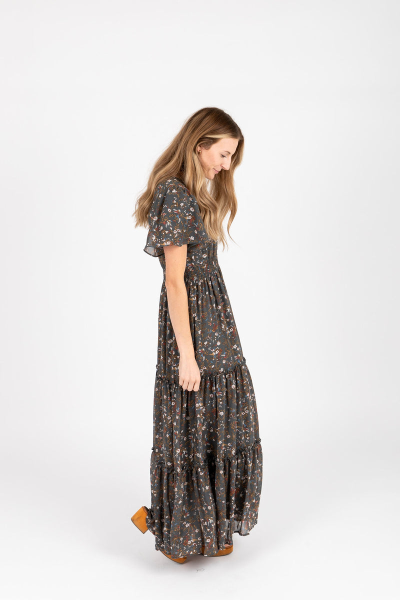 The Eden Floral Maxi Dress in Forest Green