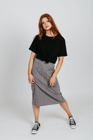 The Sebastian Floral Skirt in Black Lavender