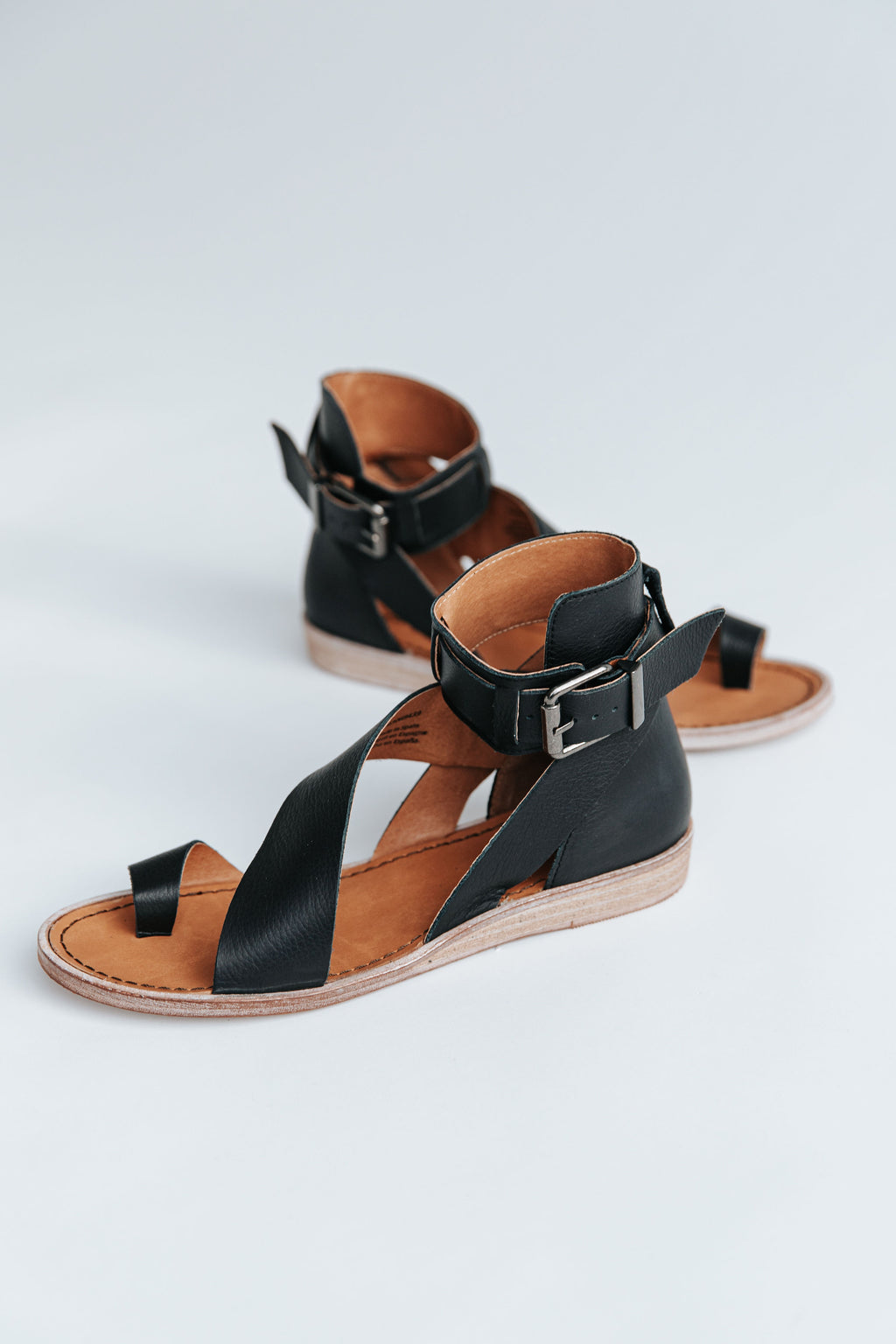 Free People: Vale Boot Sandal in Black, studio shoot; side view
