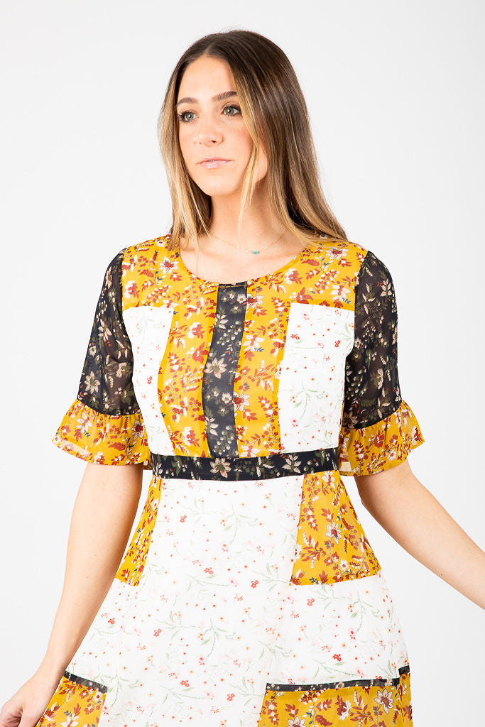 Piper & Scoot: The Chelsea Mixed Block Pattern Dress in Mustard