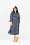 Piper & Scoot: The Pacific Dot Midi Dress in Dusty Blue