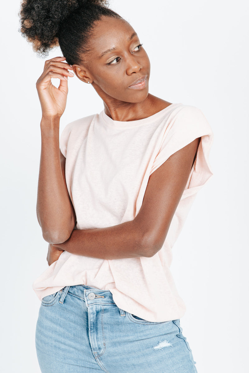 The Timmy Casual Tee in Peach, studio shoot; front view