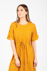 The Kelly Dot Empire Dress in Mustard
