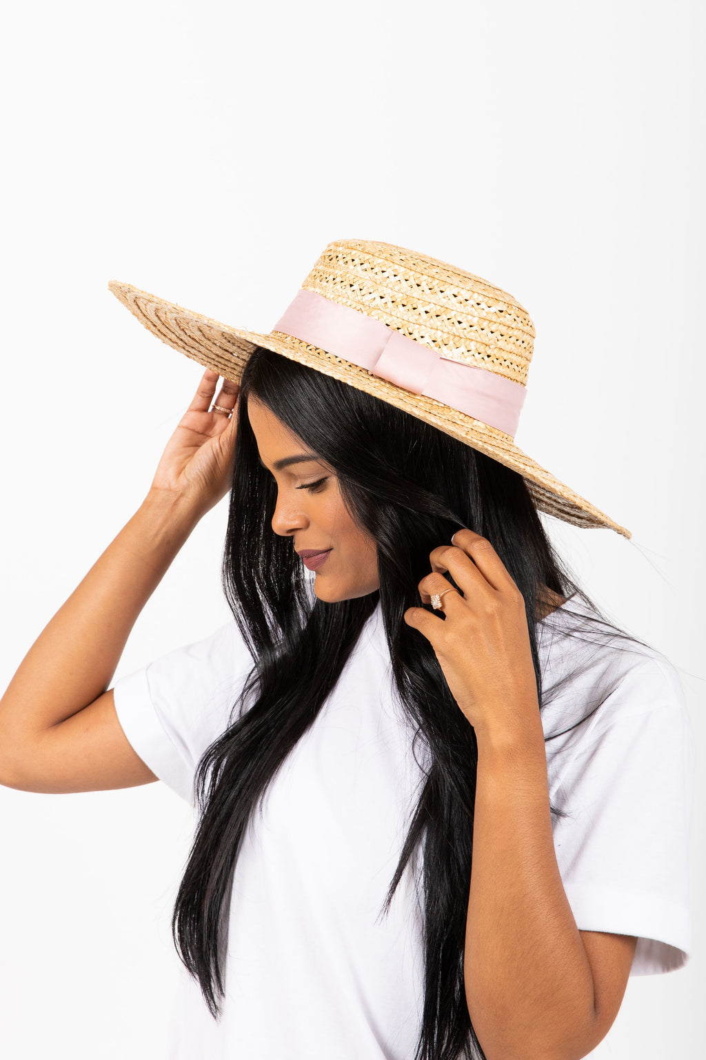 Hat No. 21: The Straw Brim Boater in Blush