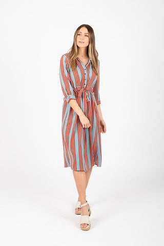 The Cha Cha Striped Maxi Dress in Multi